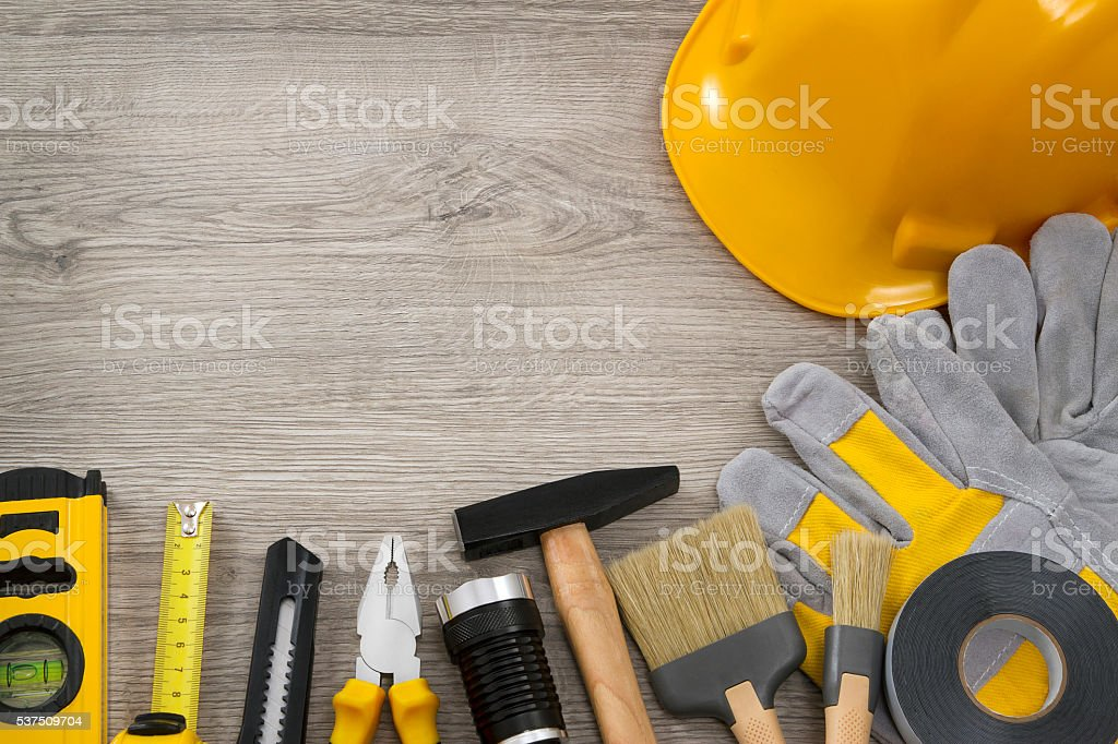 Working Tools on Rustic Background stock photo