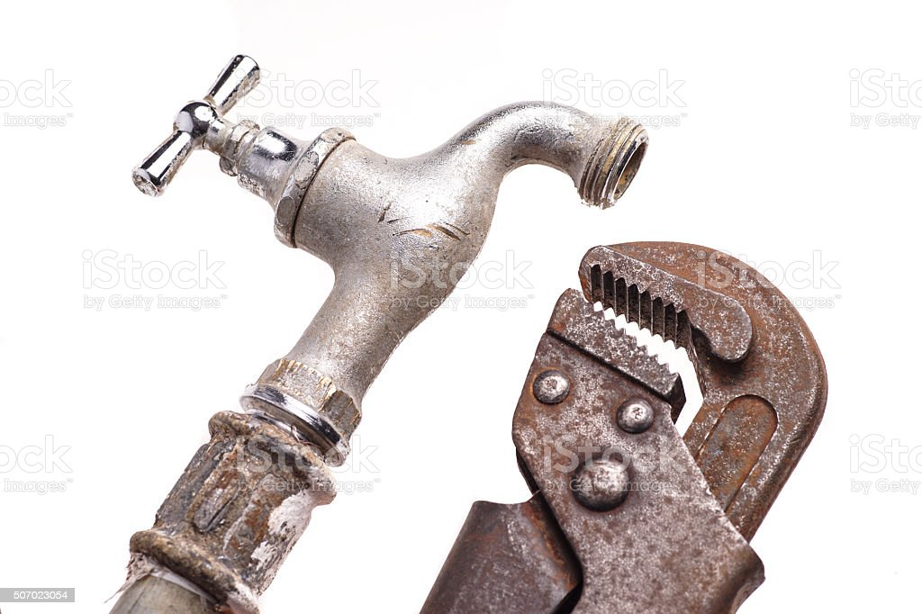 Working tools, plumbing and faucets stock photo