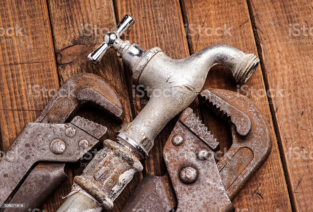 Working tools, plumbing, pipes and faucets stock photo