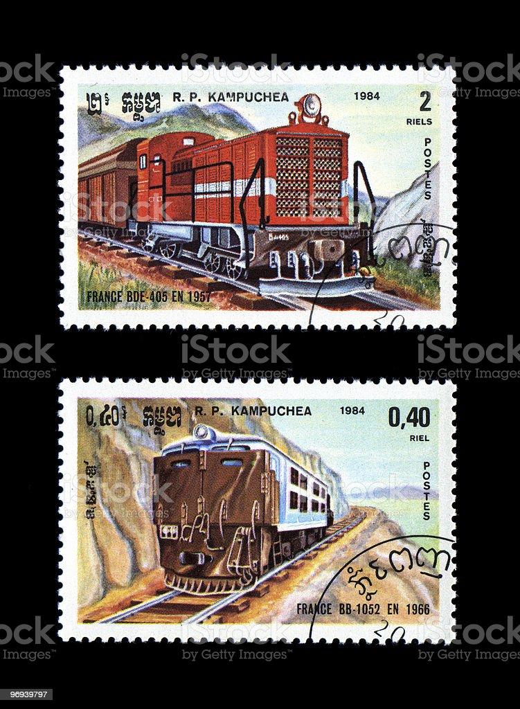 Working Trains Railroad Locomotives Kampuchea royalty-free stock photo