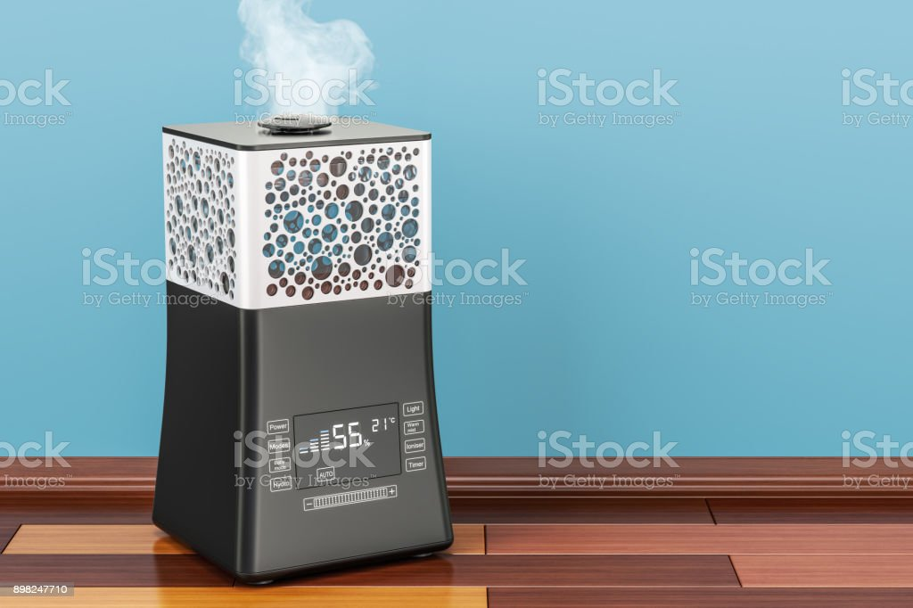 Working ultrasonic humidifier with fog, 3D rendering stock photo