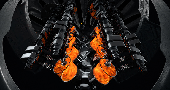 istock Working V8 Engine Rendering With Explosions And Sparks Inside Of Another Machine 961805062