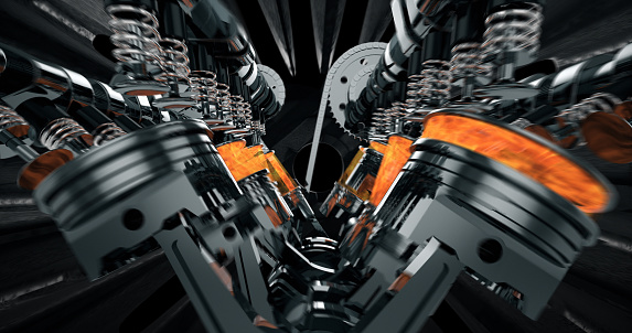 istock Working V8 Engine Rendering With Explosions And Sparks 961804912