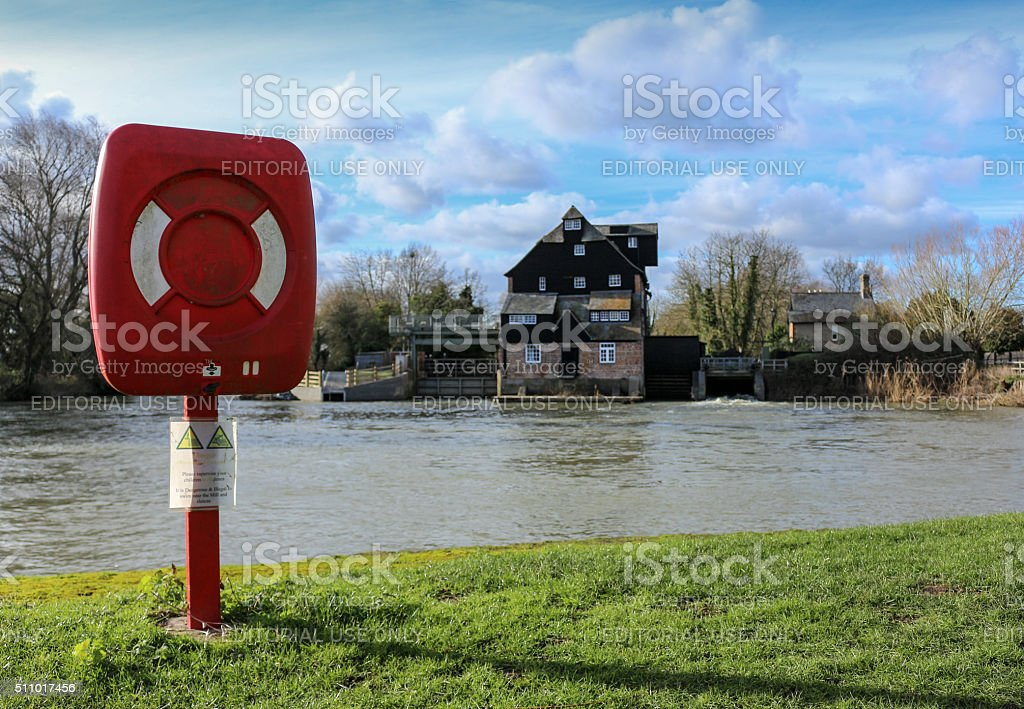Working Water Mill In Cambridgeshire, England stock photo