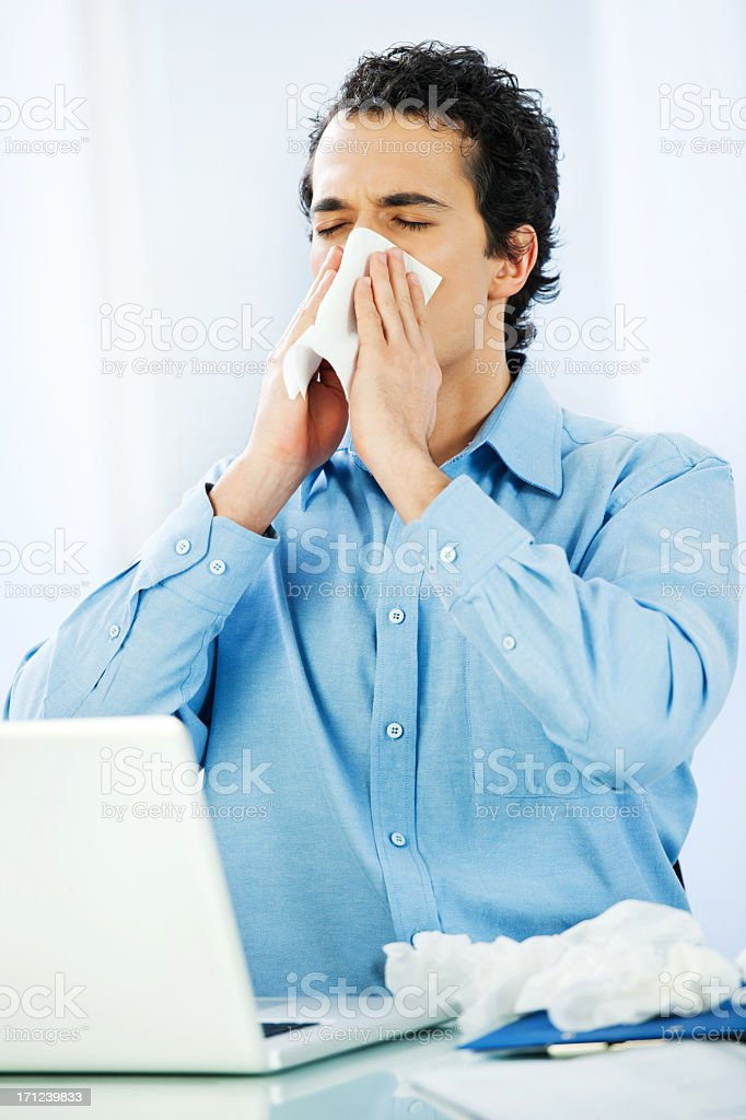Working when sick. royalty-free stock photo
