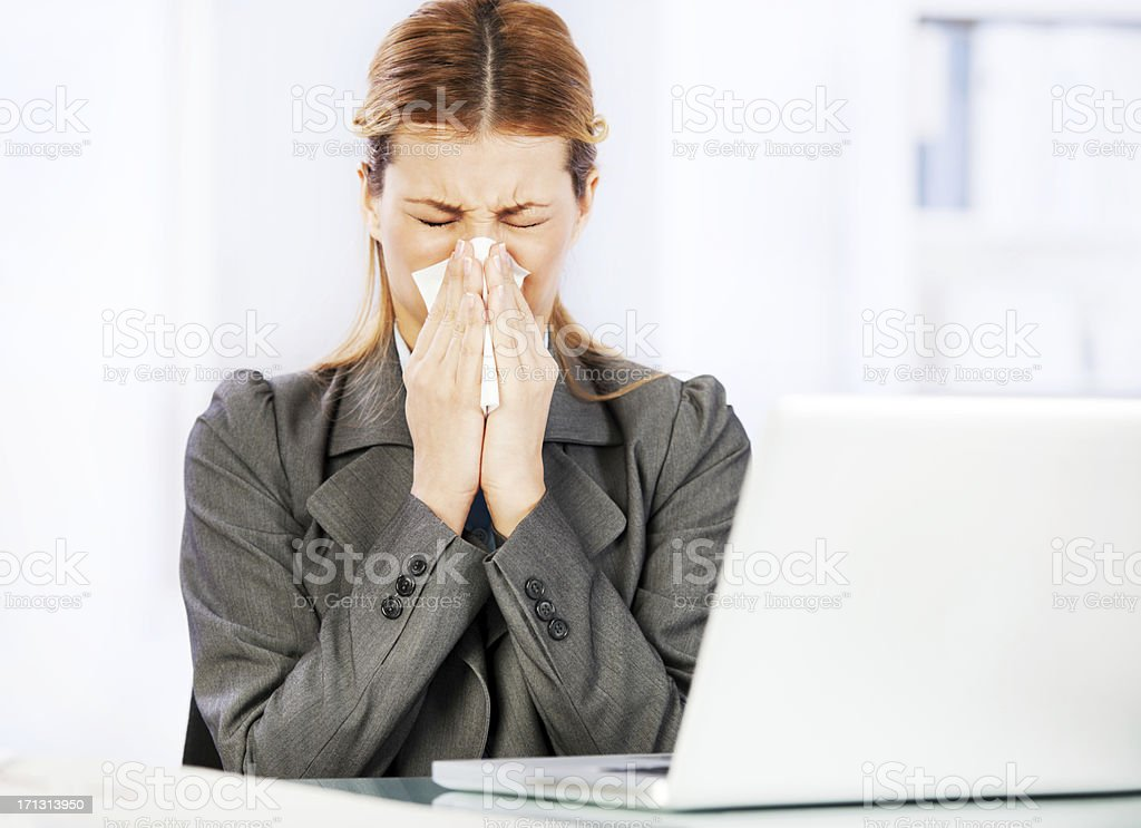 Working when sick. stock photo