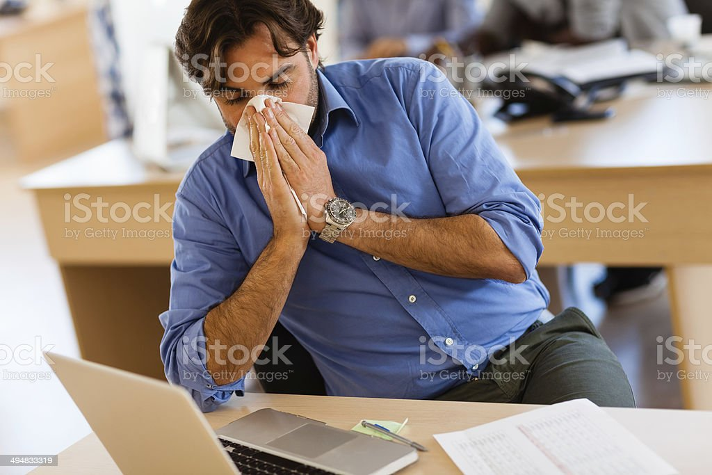 Working when sick stock photo