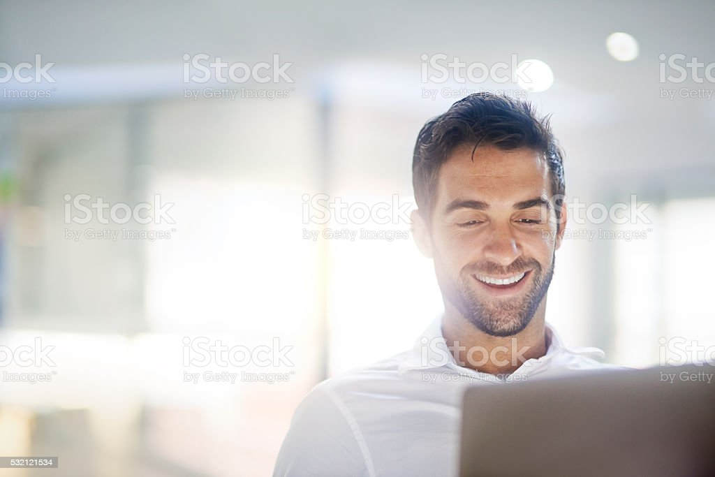 Working with a smile stock photo