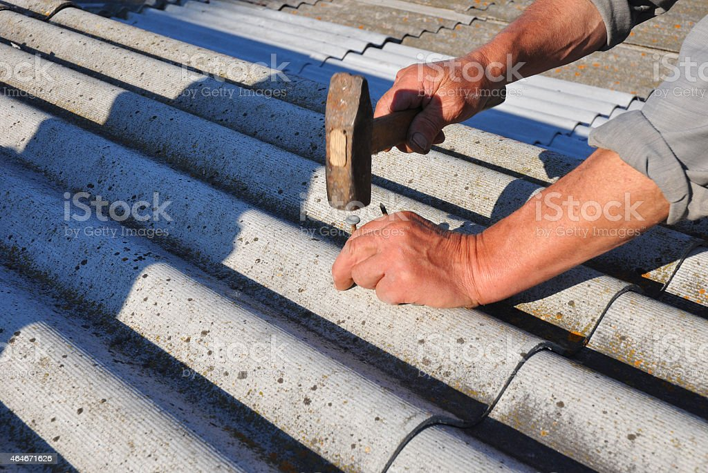 Working With Asbestos Roof Shingles Stock Photo Amp More