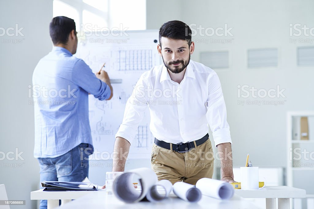 Working with blueprints royalty-free stock photo