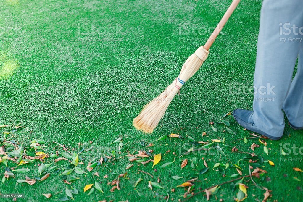 Working with broom sweeps lawn from fallen leaves stock photo