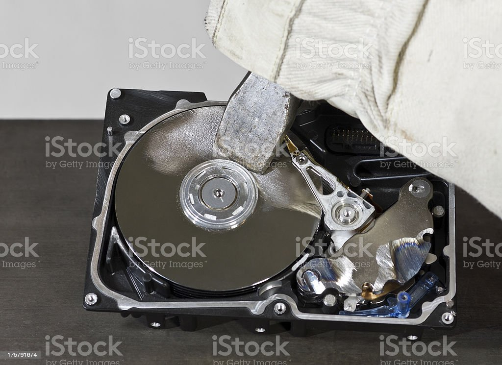 working with chisel on an open hard drive stock photo