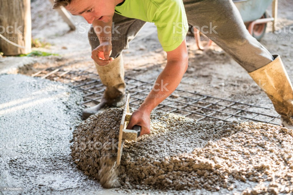 Working with concrete stock photo