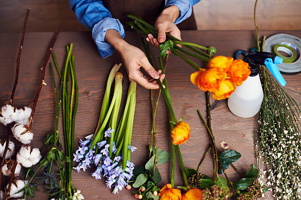 Working with flowers stock photo