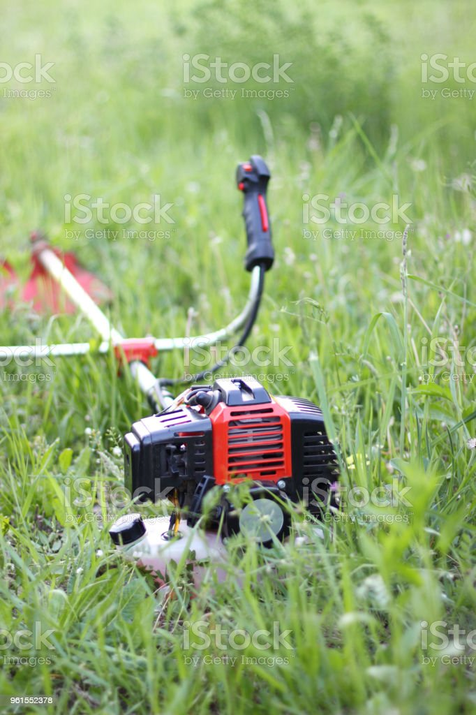 Working with grass-Man trimming stock photo