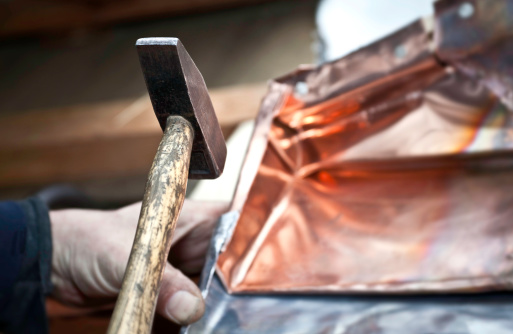 Working With Hammer On Copper Stock Photo - Download Image Now