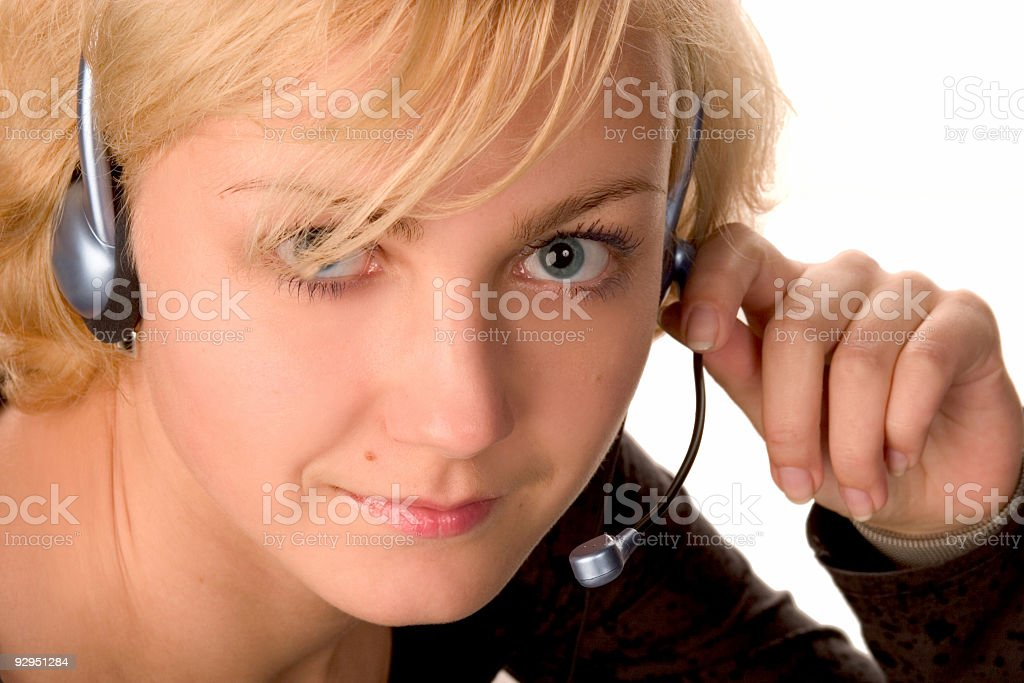 working with headset royalty-free stock photo