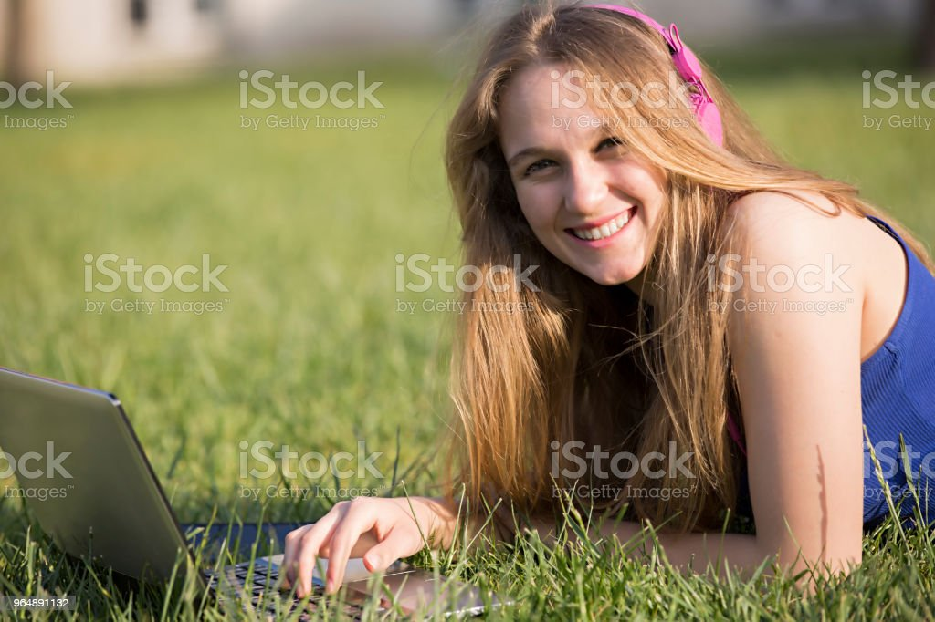 Working with Laptop at the School royalty-free stock photo