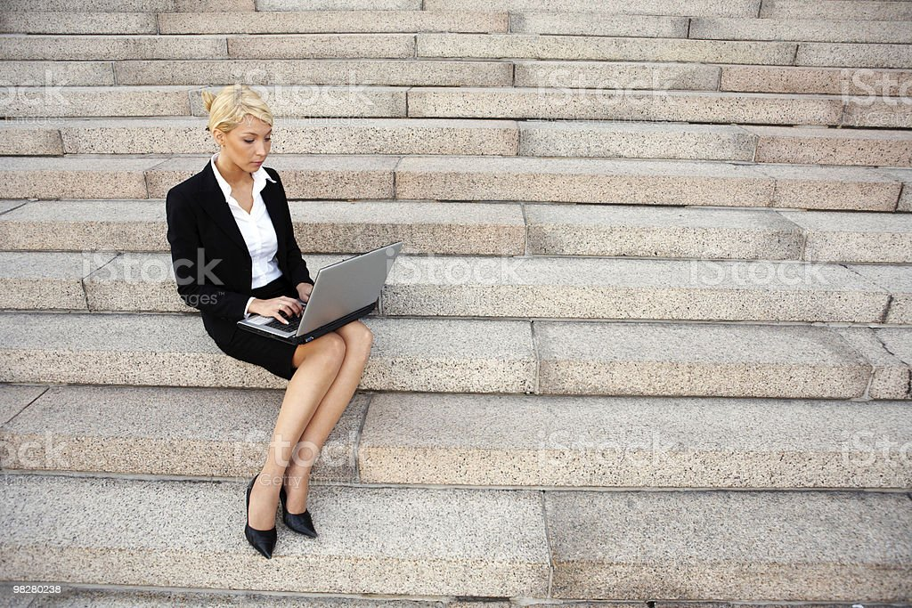 Working With Laptop royalty-free stock photo