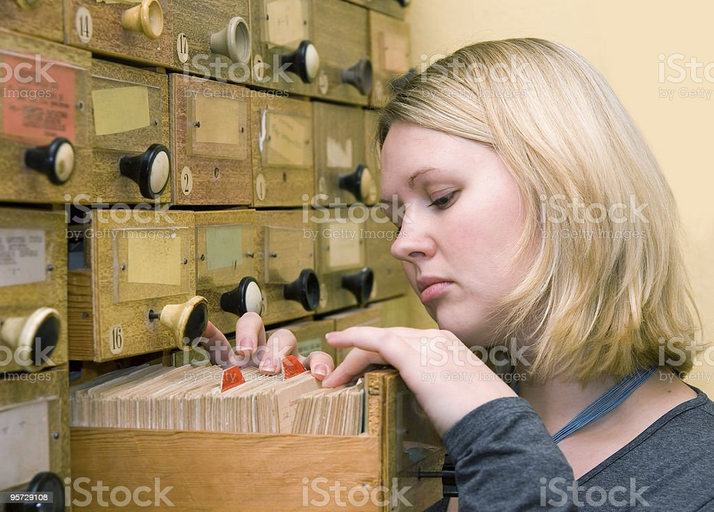 working with library card index royalty-free stock photo