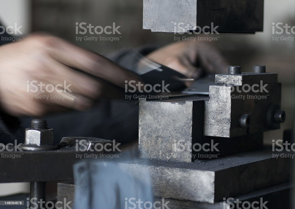 Working With Metal Mould stock photo