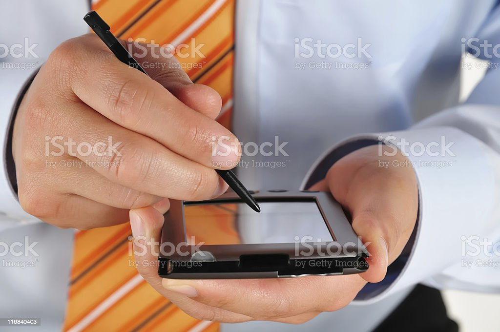 Working with PDA Close-Up royalty-free stock photo