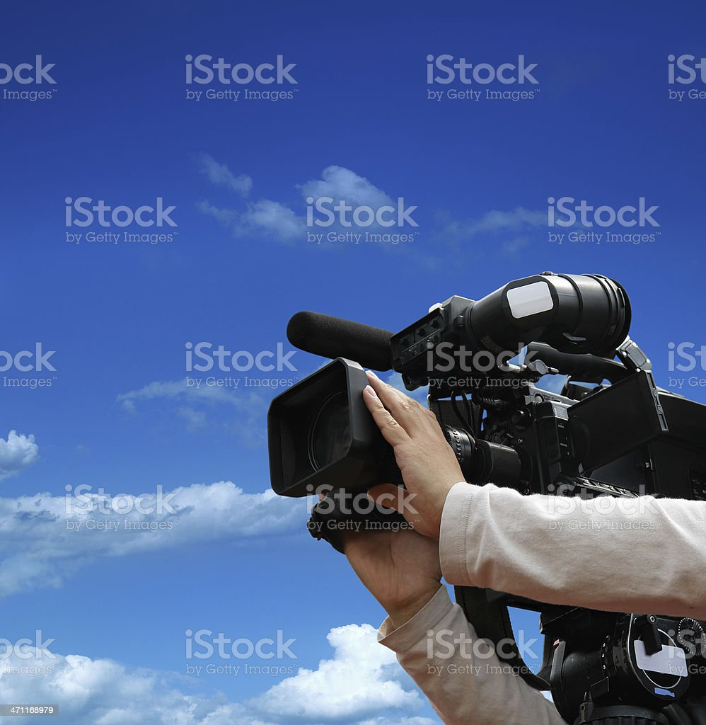 Working with Professional Movie Camera royalty-free stock photo