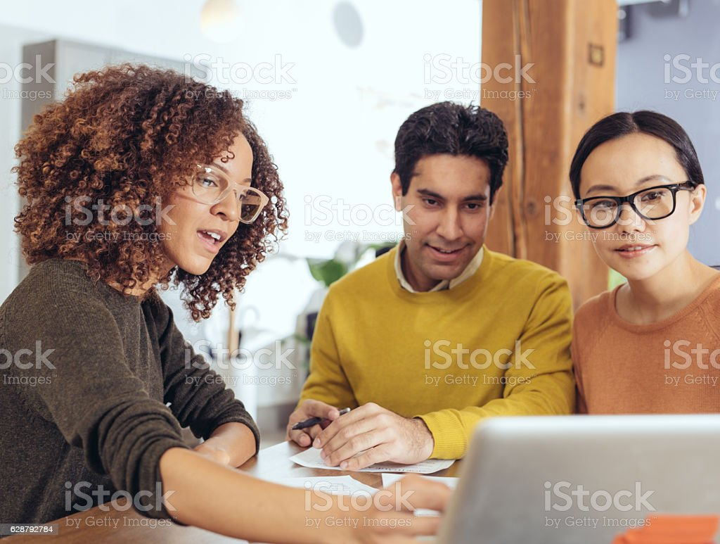 Working with real estate agent stock photo