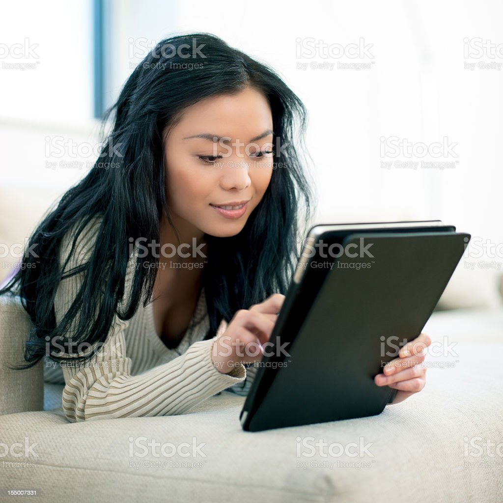 Working with the Digital tablet royalty-free stock photo