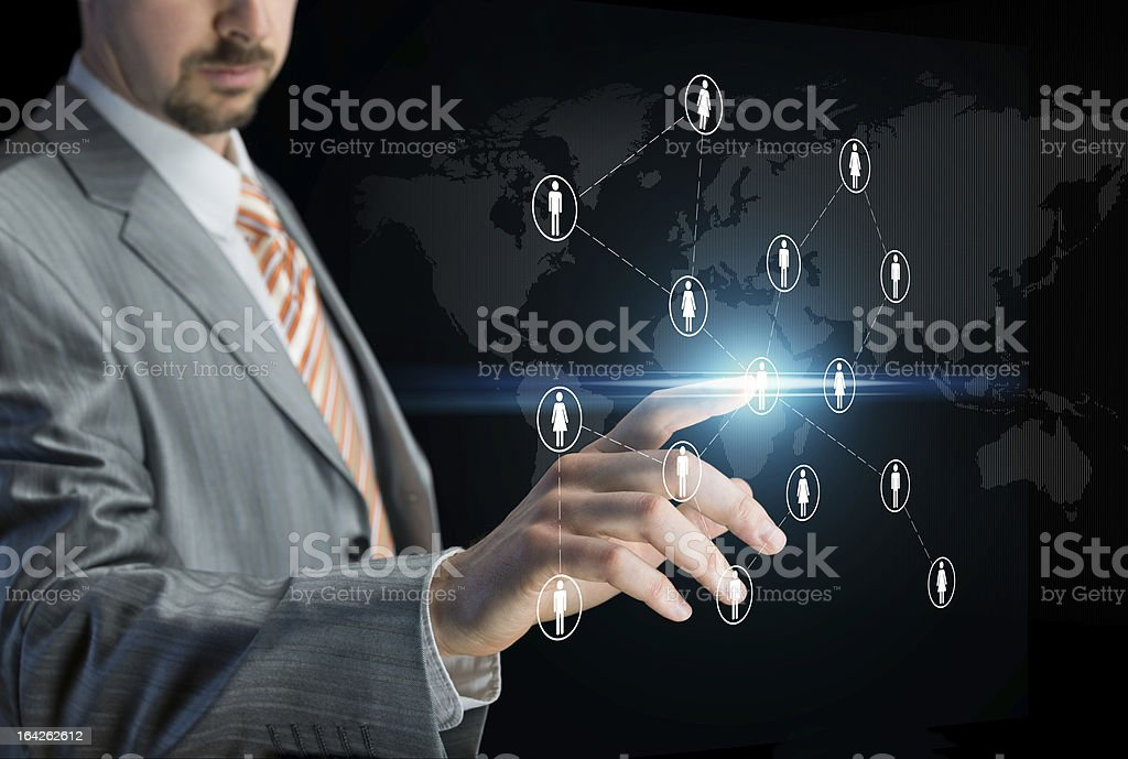 Working with touch screen royalty-free stock photo