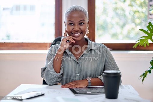 Portrait of a young businesswoman working in an office