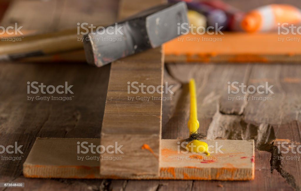 Working with wood at home royalty-free stock photo