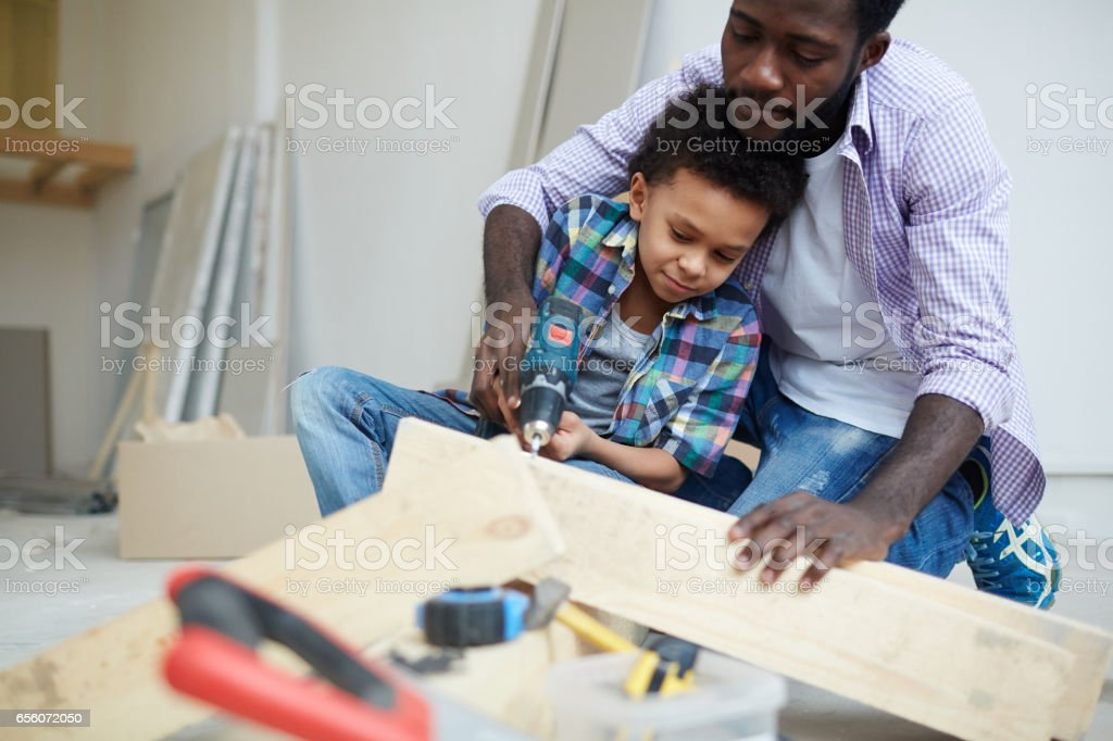 Working with wooden planks stock photo