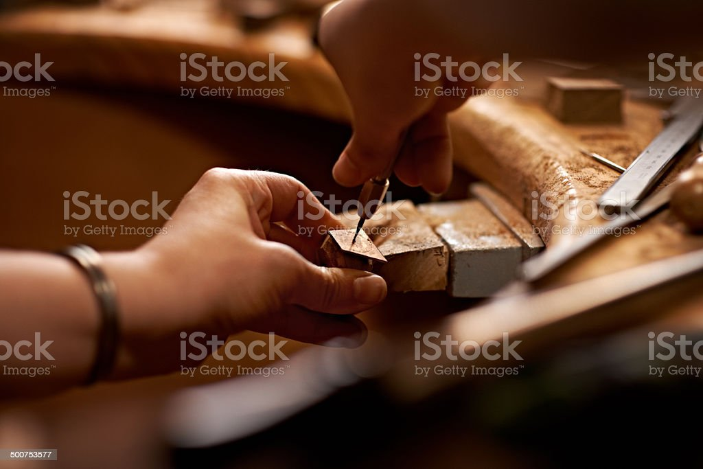 Working with your hands is the purest art form stock photo