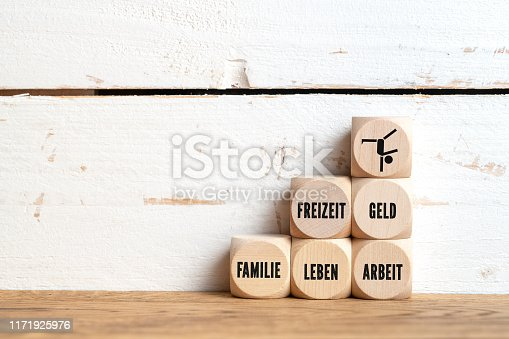 istock work-life balance concept with the German words for