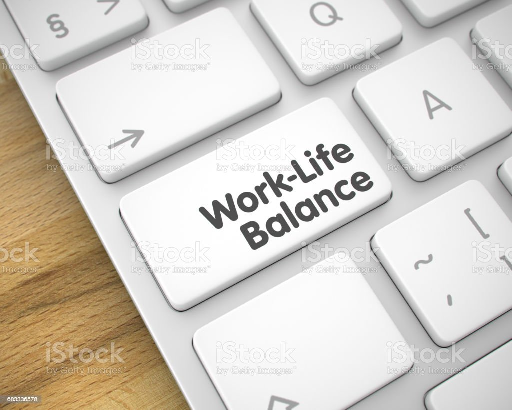 Work-Life Balance - Message on the White Keyboard Button. 3D royalty-free stock photo