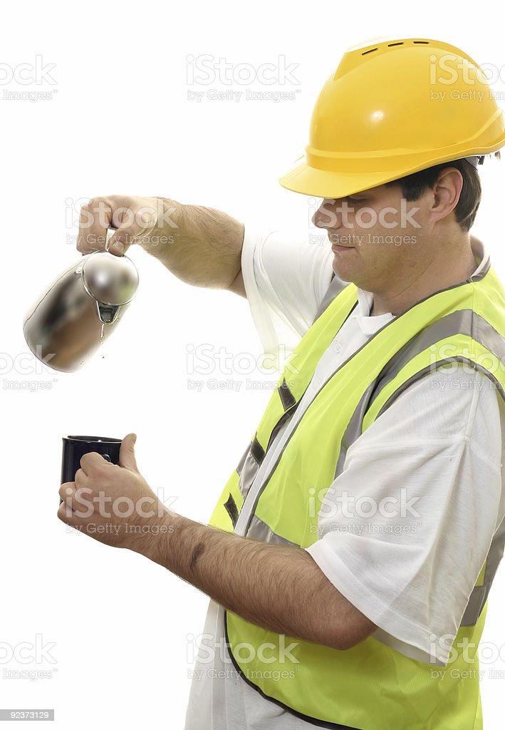 Workman Coffee Break royalty-free stock photo