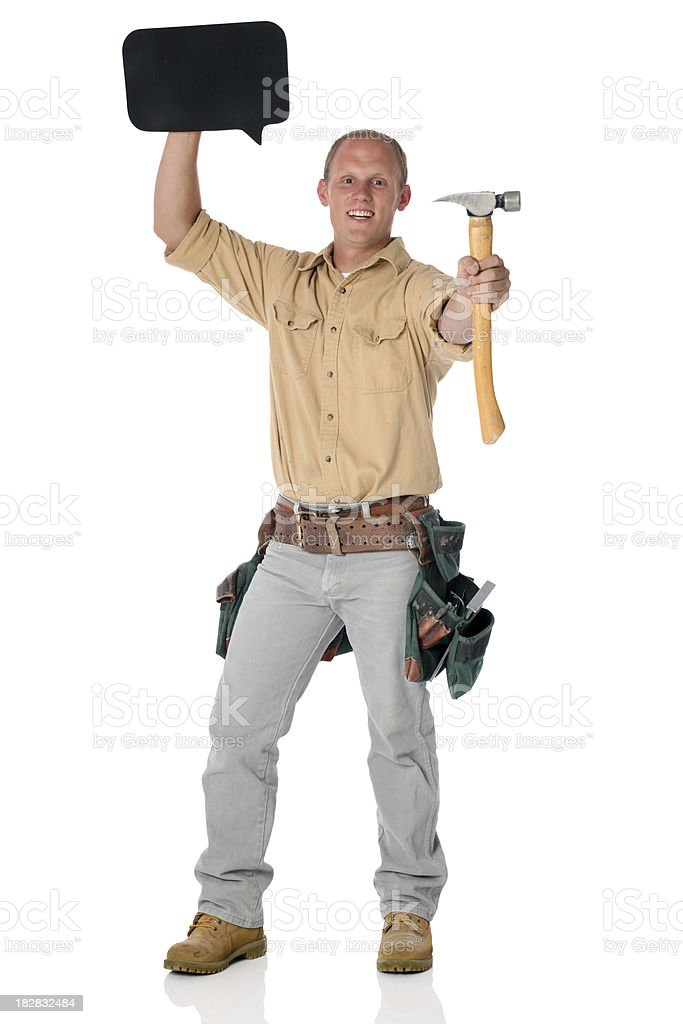 workman with toolbelt belt and hammer royalty-free stock photo