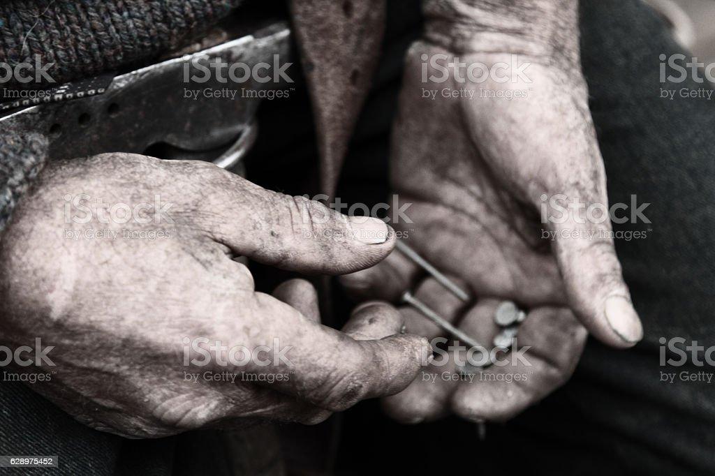 Workman's hands stock photo