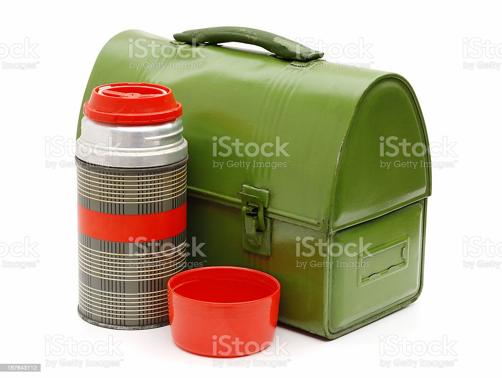 Workman's vintage lunchbox and thermos royalty-free stock photo