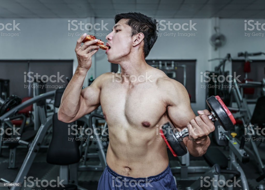 WorkOut And Eating stock photo
