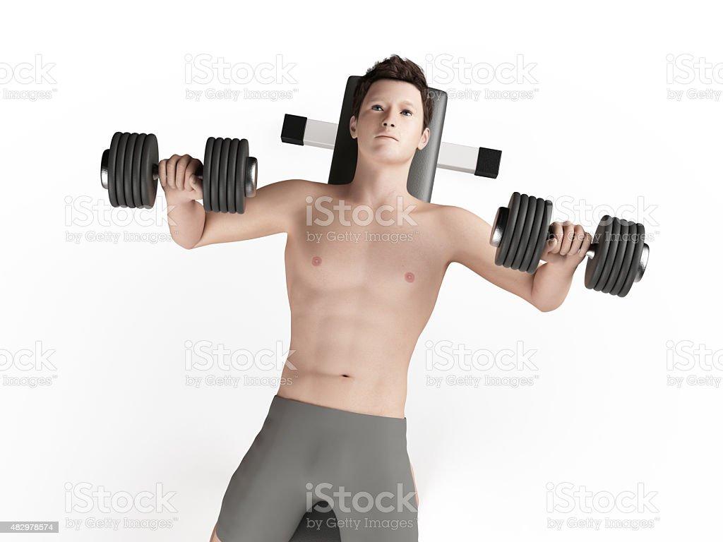 Workout - bench press stock photo