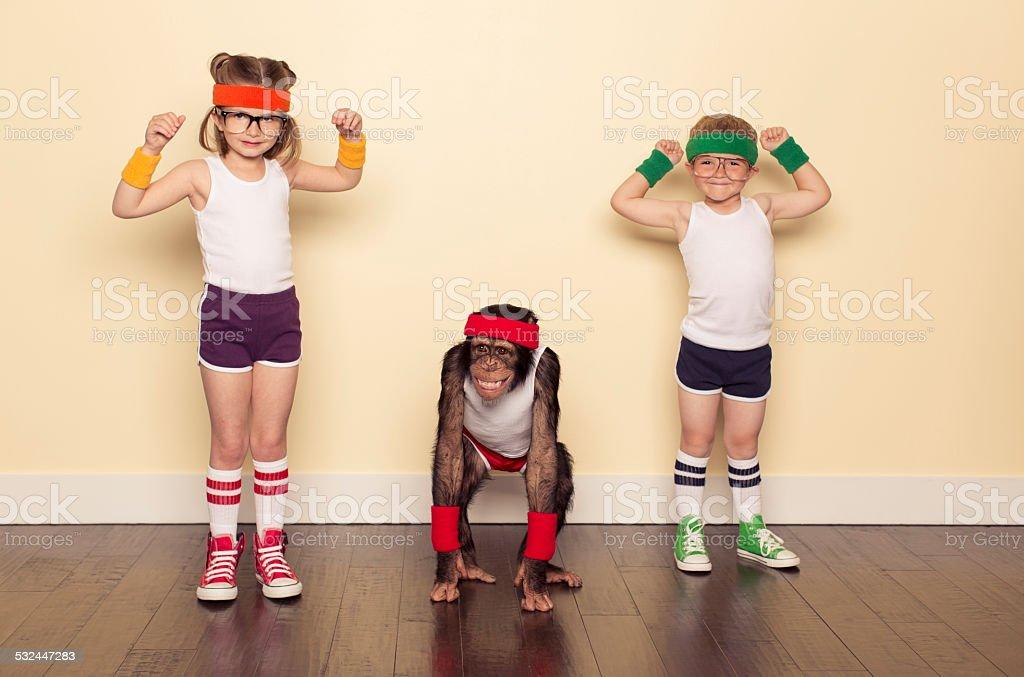 Workout Buddies and Chimpanzee Friend stock photo