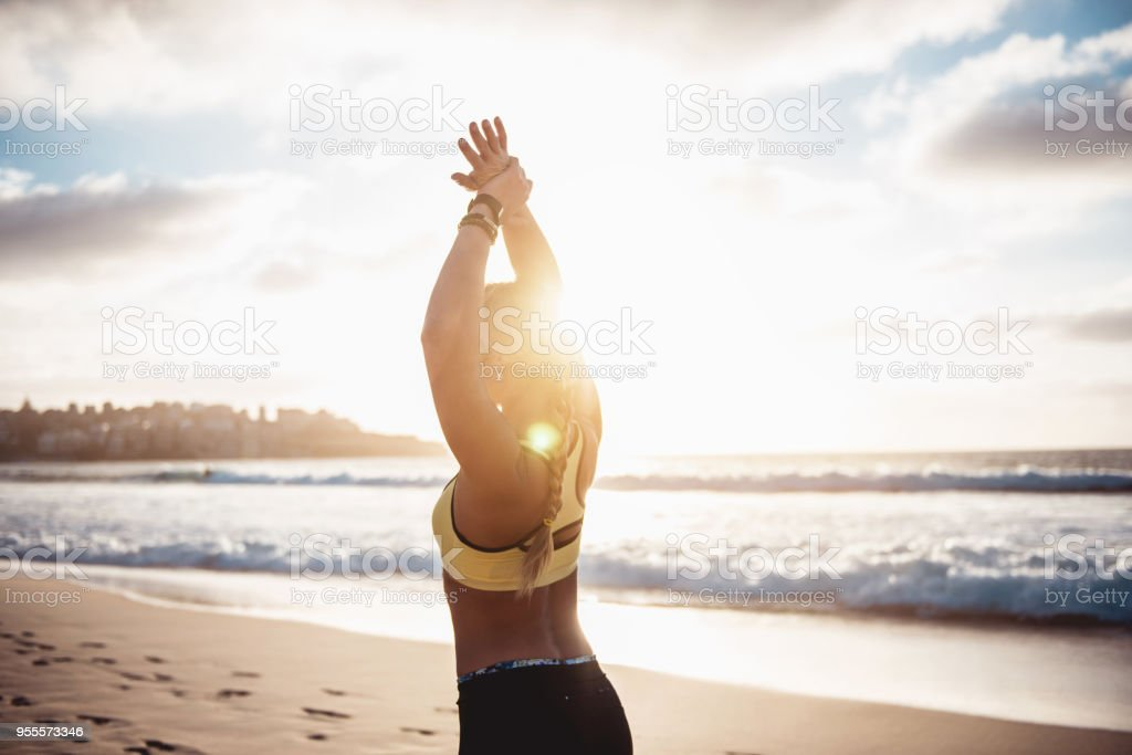Workout by the ocean stock photo