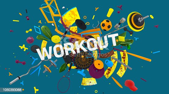 istock Workout colorful concept 1050393068
