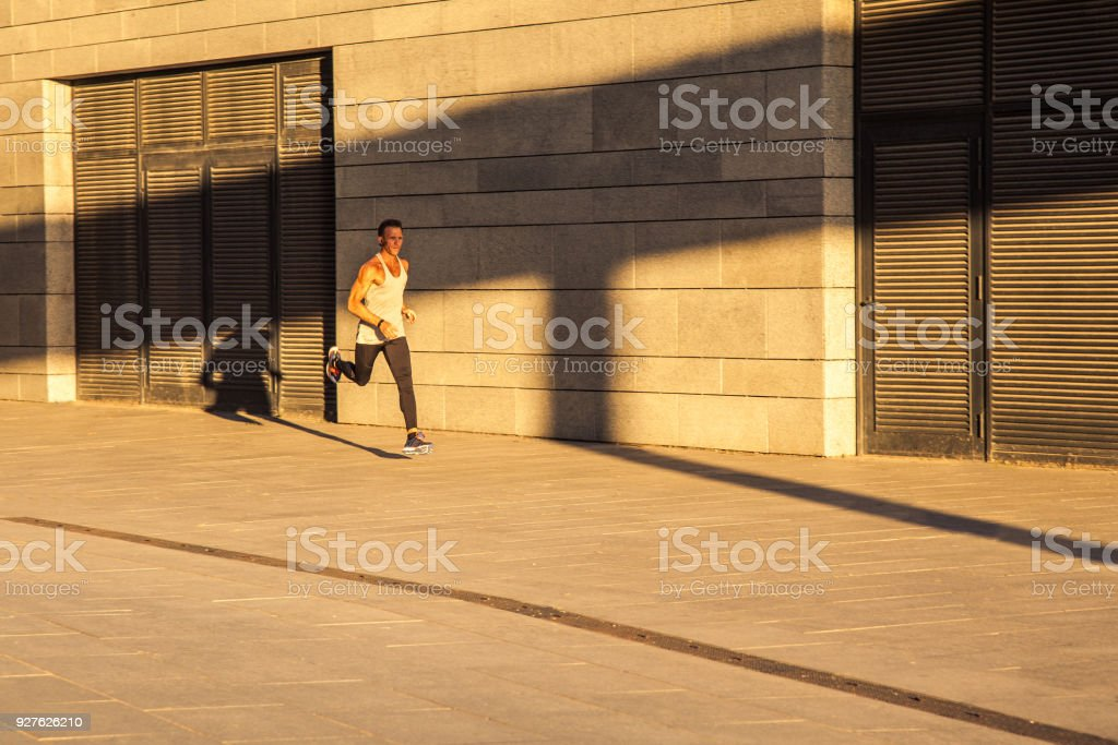 workout in city day. stock photo