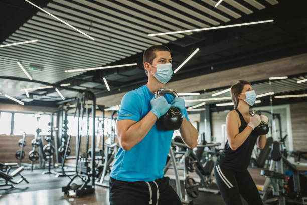 Workout in gym after pandemic stock photo