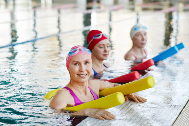Workout in swimming-pool stock photo