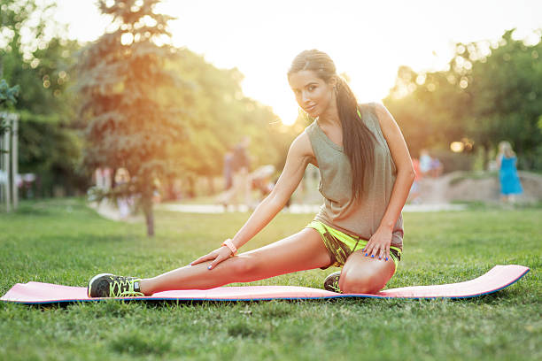 Workout in the park stock photo