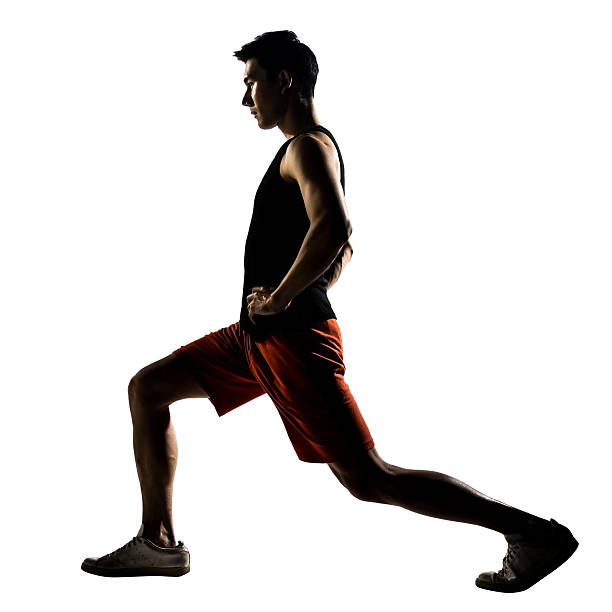 workout lunges stock photo